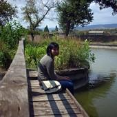 Дани се любува на езерото. След малко идват и патиците.
